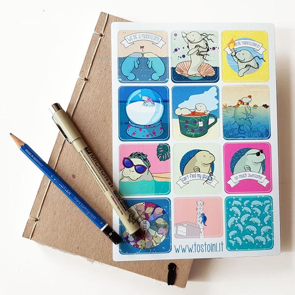 manatee stickers illustration lamentino tostoini