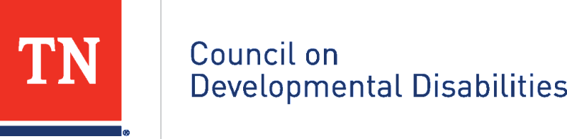 "logo that has a red square with ""TN"" inside next to the words ""council on developmental disabilities"""
