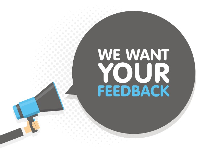 "an icon of a hand with a megaphone 'shouting' the message ""we want your feedback"""