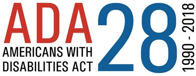 "a logo that says ""ADA - Americans with Disabilities Act"" 28; 1990-2018"