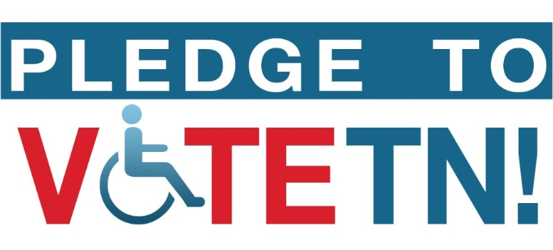 "logo that says ""pledge to vote TN"" and the ""o"" in vote is the symbol for disability, a figure in a wheelchair"