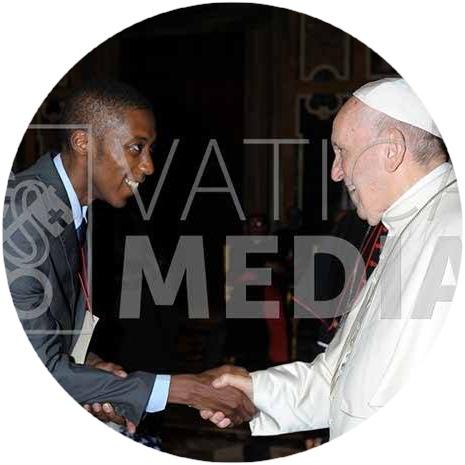 Allen Ottaro greets Pope Francis - Photo Credit_L'Osservatore Romano