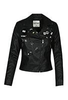 Schwarze Leder-Look Jacke