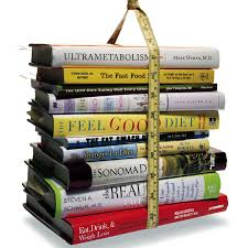 stack of health diet books