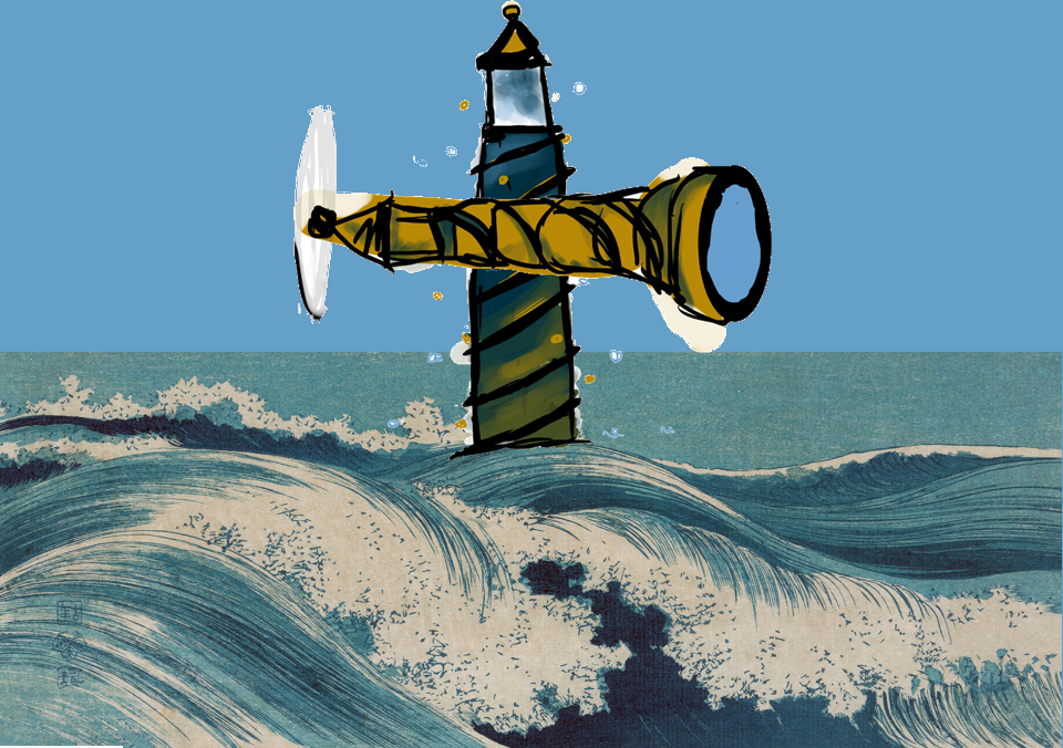 Image: The Lighthouse and the Spyglass are alter egos in time travel: one raises our perspective to see over the horizon, envisioning the future, while the other brings the distance objects near, so we have time to prepare rather than react.