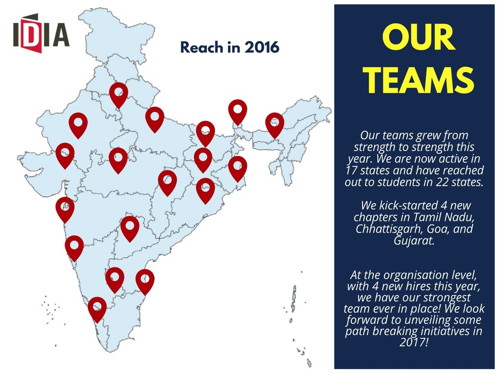 Aur Teams. Our teams grew from strength to strength this year. We are now active in 17 states and have reached out to students in 22 states. We kick-started 4 new chapters in Tamil Nadu, Chhattisgarh Goa, and Gujarat. At the organisation level, with 4 new hires this year, we have our strongest team ever in place! We look forward to unveiling some path breaking initiatives in 2017!