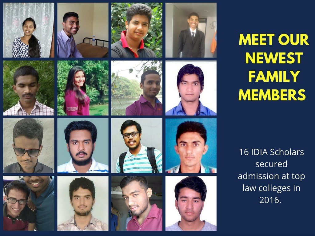 Meet our newest family members: 16 IDIA Scholars secured admission at top law colleges in 2016