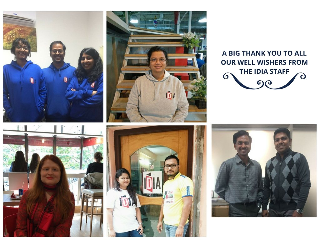 A big thank you to all our well wishers from the IDIA Staff. Picture of Shruthi, Swaraj, Anusha, Swati, Vidushi, Sharmeen, Arnab, Santhosh and Shiva