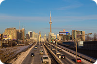 Traffic on the highway near the C.N. Tower in Toronto (iStockphoto)