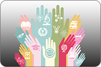 Hands with technology and education icons (iStockphoto)