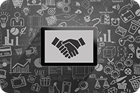 Tablet with shaking hand symbols (iStockphoto)