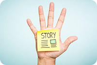 Hand with Story sticky note (iStockphoto)