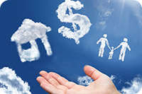 hand with clouds shaped like house, dollar sign and family (iStockphoto)