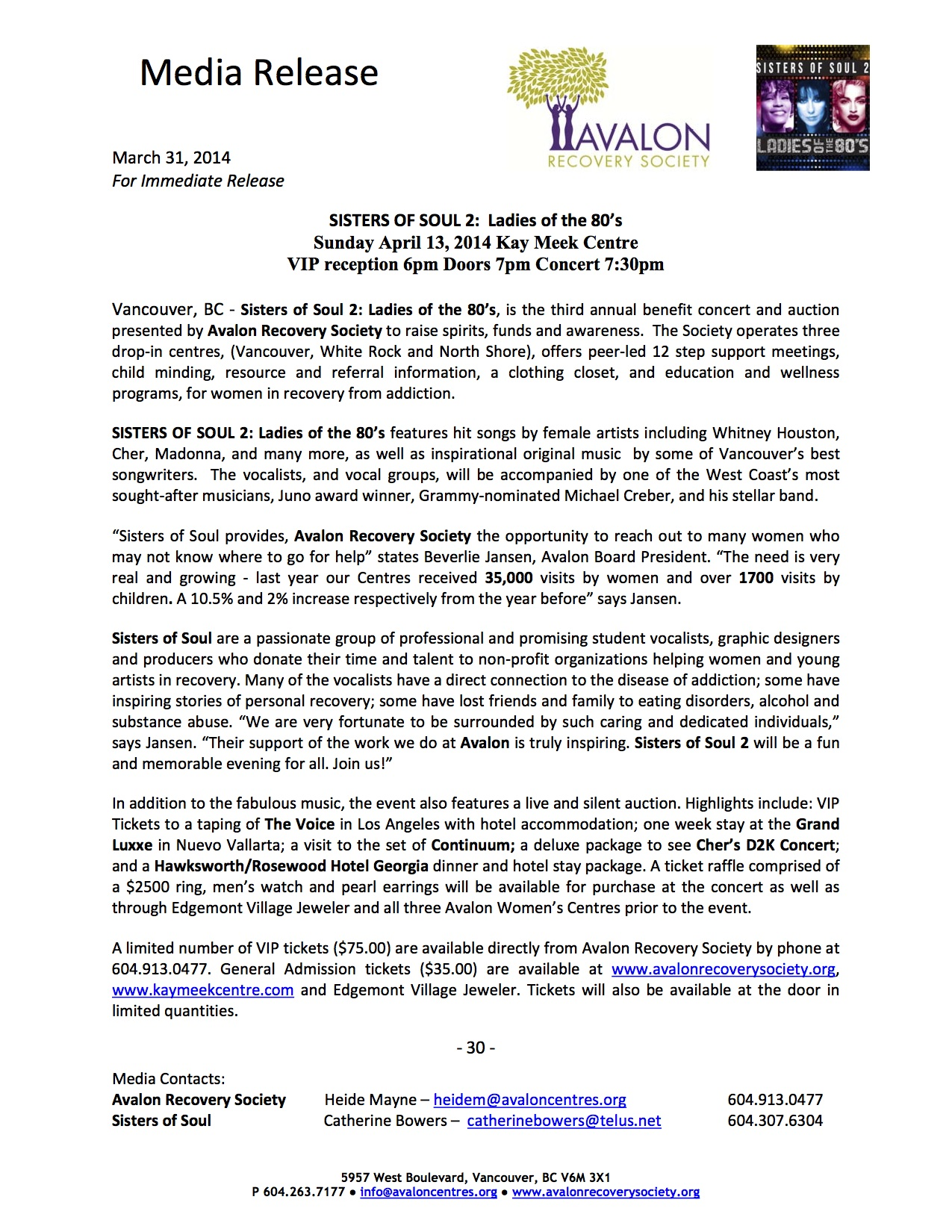 PRESS RELEASE: SISTERS OF SOUL2: Ladies Of The 80's Benefit Concert & Auction For The Avalon Recovery Society