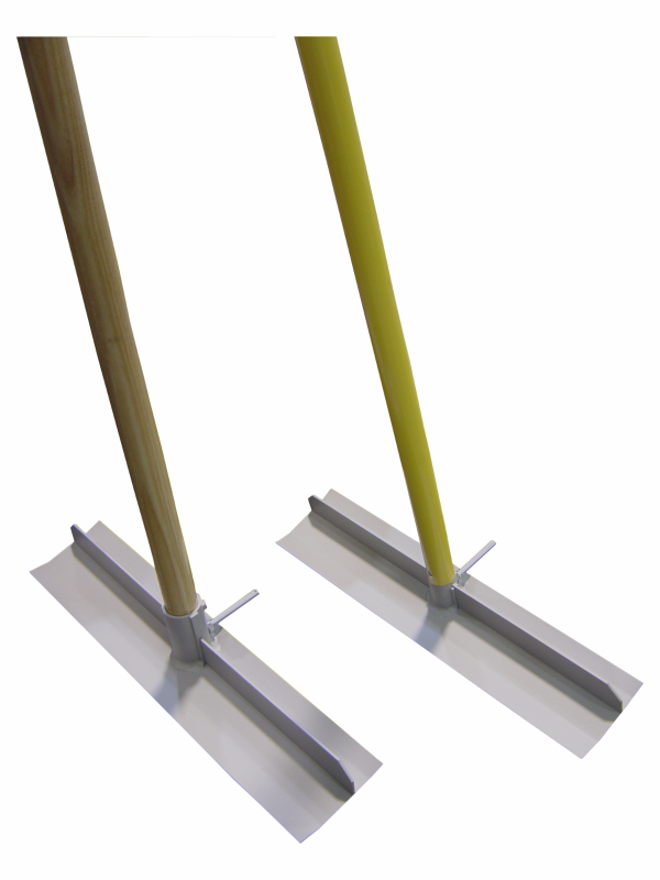 Wood or coated aluminum handle concrete placers