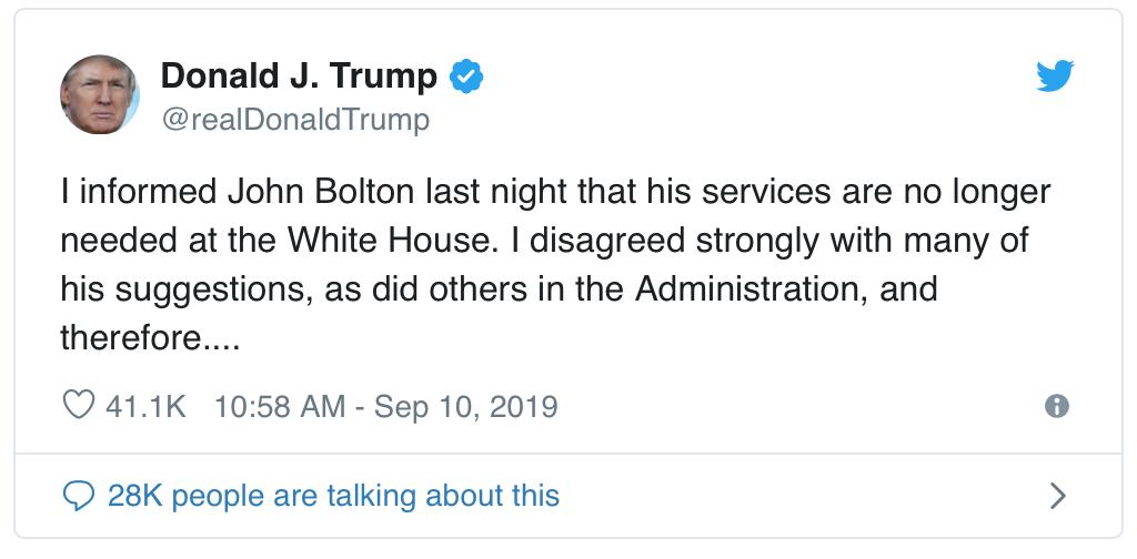 Pres Trump shares Bolton firing on Twitter
