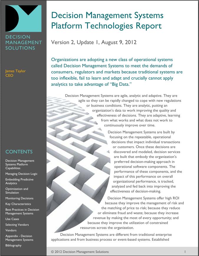 Decision Management Systems Platform Technologies Report