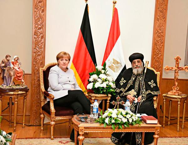Bundeskanzlerin Angela Merkel trifft Papst Tawadros II