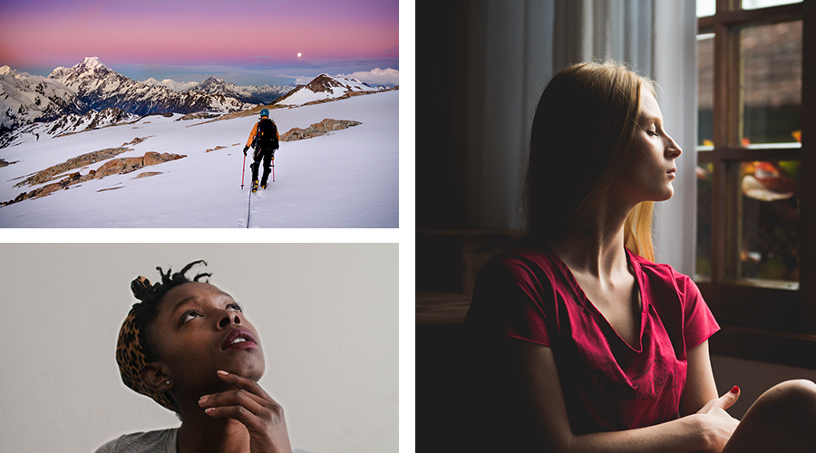 Collage of images – Young woman gazes up with pensive look on face, young woman sits by window with eyes closed, man hikes high mountain at sunrise.