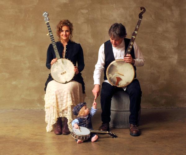 Bela Fleck and Abigail Washburn with their baby boy