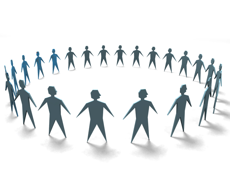 vector image; circle of people holding hands; teamwork