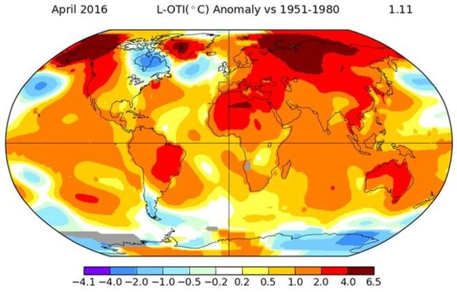 April 2016 breaks global temperature records