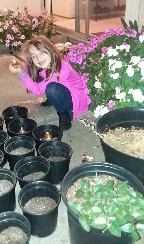 Sofia Seegel with the plants.