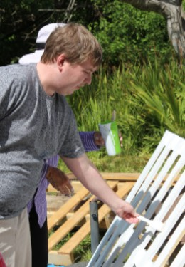 Scott painting a fence during our June 14 work day.