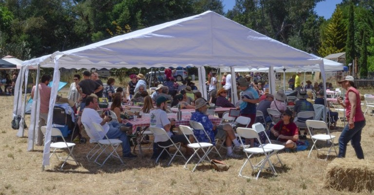 People gather in the shade of our big tent to mingle with old friends and new.