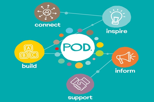Diagram explaning the Point of Difference (POD) youth incubator programme.