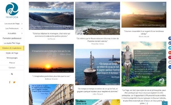page citations et inspirations site web Trini Yoga Paris