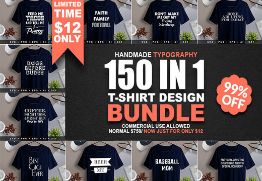 150 T-Shirt Designs Bundle