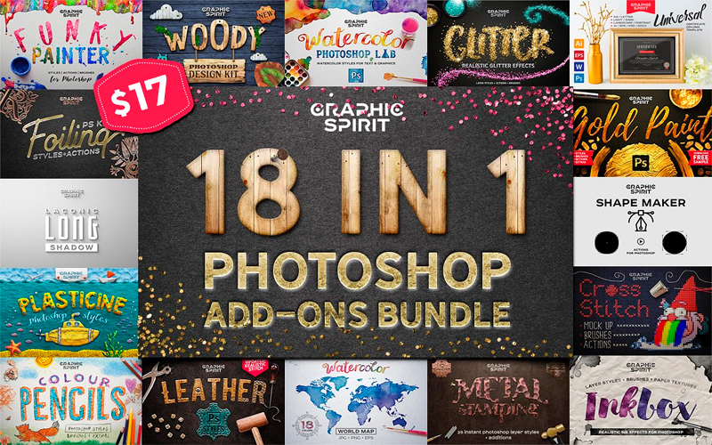 18-In-1 Photoshop Add Ons Bundle
