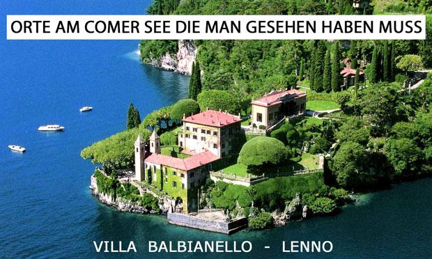 Eine Luftaufnahme der Villa Balbianello