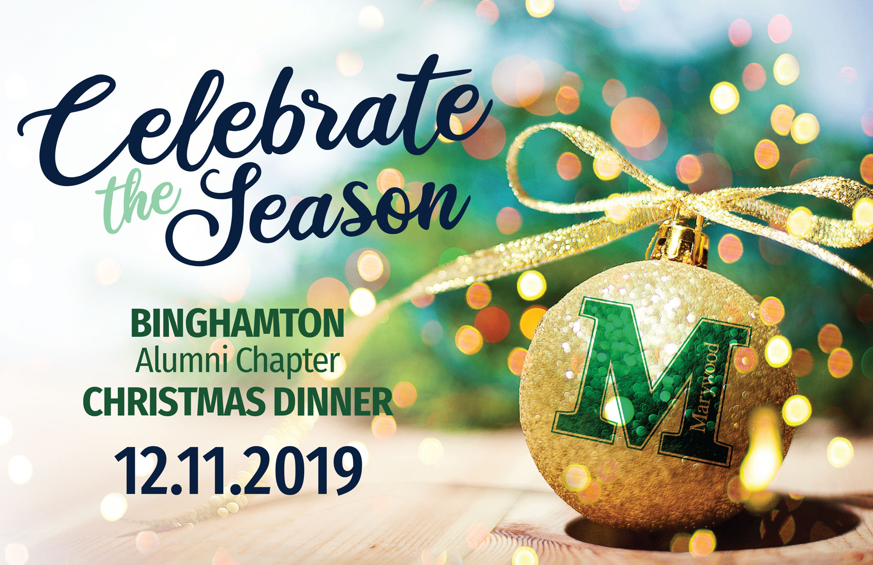 Binghamton Marywood Alumni Christmas Dinner - Thursday, December 11th at 6 p.m.