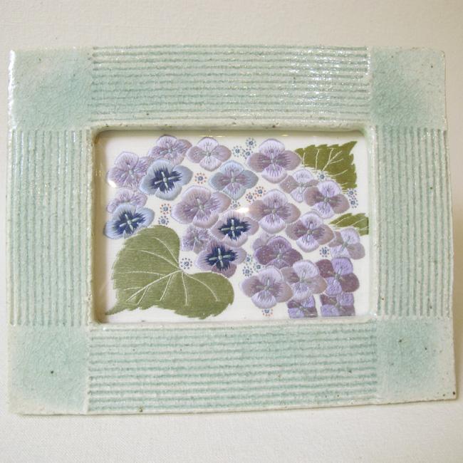 Auction - Hydrangea Japanese Embroidery Artwork with Handmade Ceramic Frame