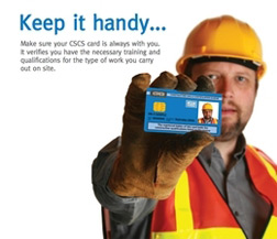 CITB card being held by builder