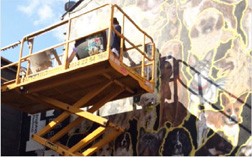 Scissor lift and mural