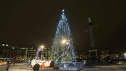 Putting up decorations in Trafalgar Square