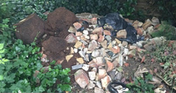 Fly tipped demolition waste
