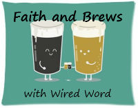 one mug with dark beer and one with light beer cheersing each other with beer mugs of their own.  Faith and brews with wired word.