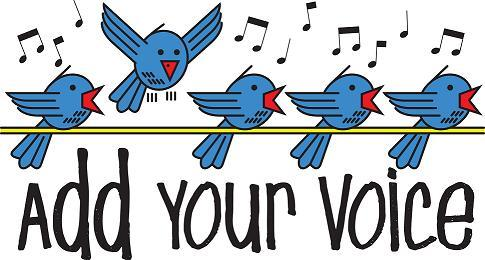 Birds singing in a line with subtitle Add Your Voice