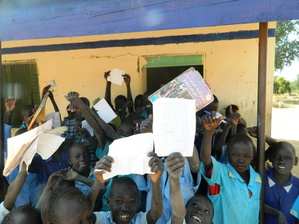 Students from Wunlang in South Sudan showing school work