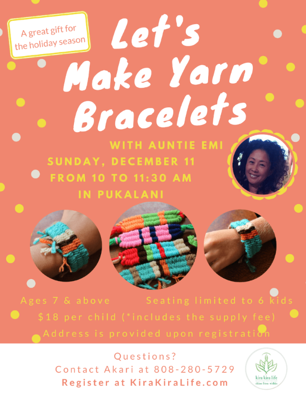 Yarn Bracelets Workshop Flyer