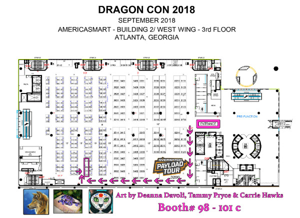 Tigerpixie Fantasy Cat Art DragonCon 2018 Map