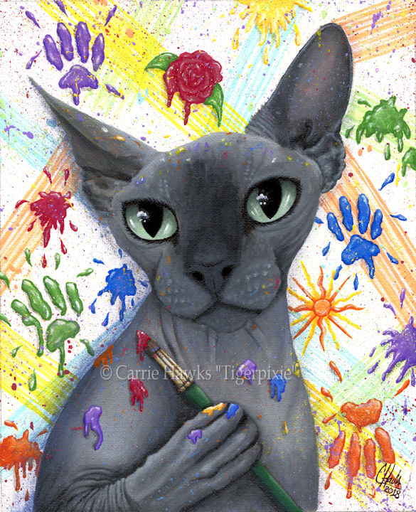 New Art Sphynx Cat Walter The Artist Tigerpixie.com