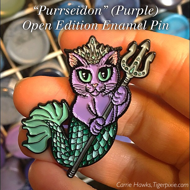 Purrseidon Purple Enamel Pin
