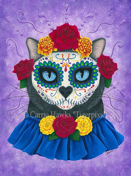 Day of the Dead Cat Gal, Carrie Hawks, Tigerpixie.com