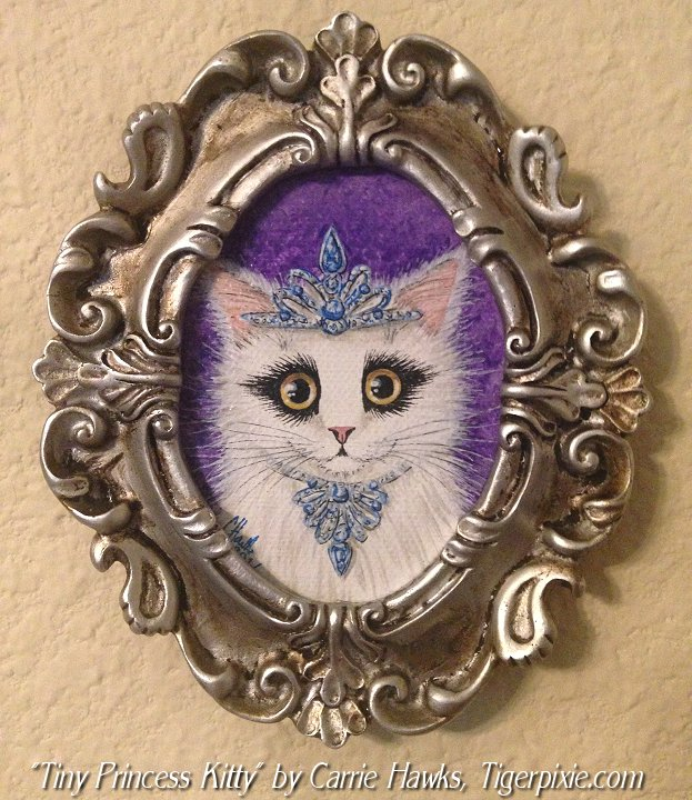 Tiny Princess Kitty by Carrie Hawks, Tigerpixie.com for the El Gato Show at Art At THe Hall