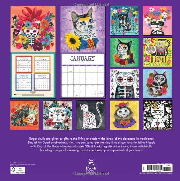 Day of the Dead Meowing Muertos 2018 Calendar Back